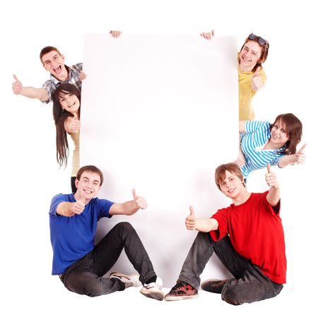 happy young: Personas de grupo con thums arriba y banner.Isolated.