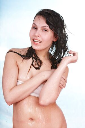 damping: Beatiful  wet girl. Body care. Isolated.