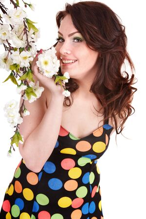 Beautiful girl with spring flower. Isolated. Stock Photo - 6758202