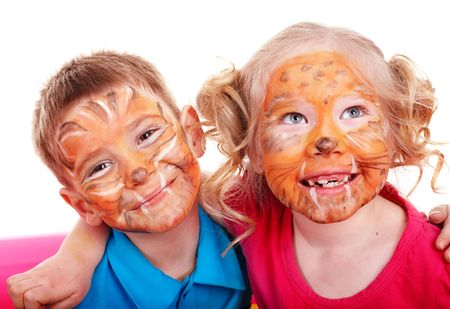 Children with paint of face. Make up. Stock Photo - 6758209