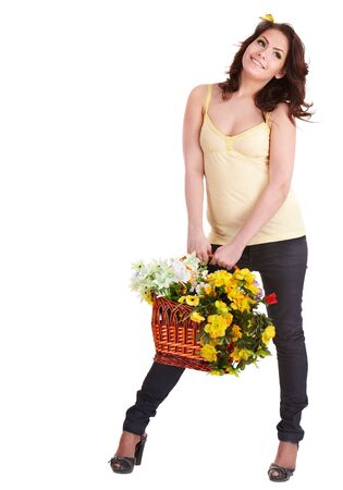 Beautiful girl with wild spring flower. Isolated. photo