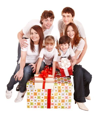 Happy family with big gift box. Isolated. photo