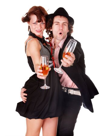 Couple man and girl with wine dance. Isolated. photo