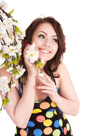 Beautiful girl with spring flower. Isolated. Stock Photo - 6964093