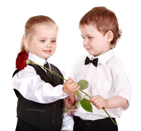 Children in business suit with rose.Valentines day. Stock Photo - 6964136