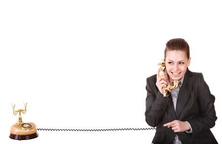 Happy businesswoman  with golden  phone. Isolated. Stock Photo - 6964115