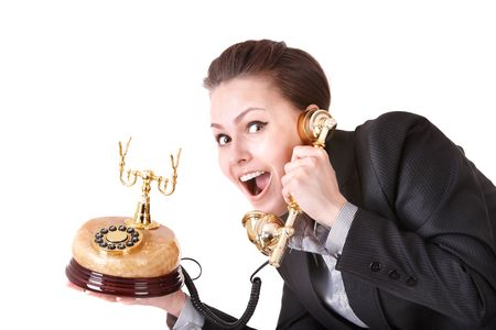 Happy businesswoman  with golden  phone. Isolated. Stock Photo - 6964155