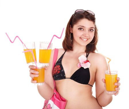 Young woman in bikini with coctail. Isolated. photo