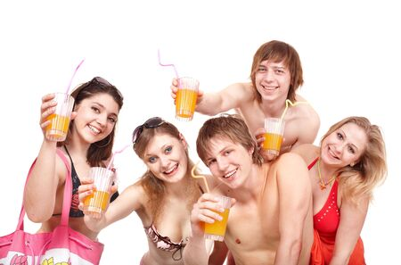 Group of people in bikini enjoying cocktails. Isolated. photo