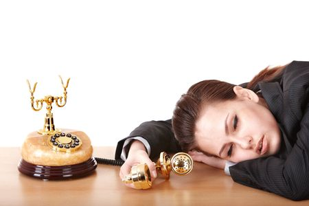 Tired business woman with phone. Isolated. Stock Photo - 7075131