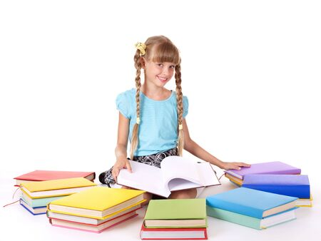 Child with pile of books  reading on floor. Isolated. Stock Photo - 7450525