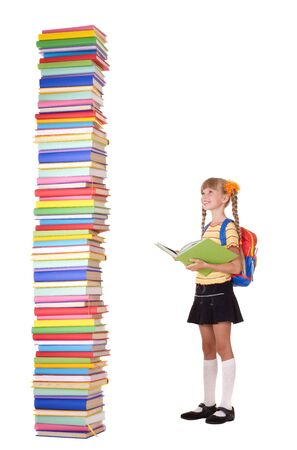 schoolchild: Child with pile of books. Isolated.