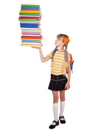 schoolchild: Schoolgirl with backpack holding pile of books. Isolated.