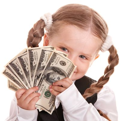 Happy girl  in business suit with money dollar. Isolated. photo