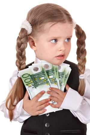 Sad child with money euro. Isolated. photo