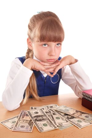 Sad little girl with money dollar. Isolated. photo