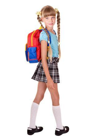 schoolchild: School girl in uniform with backpack. Isolated. Stock Photo