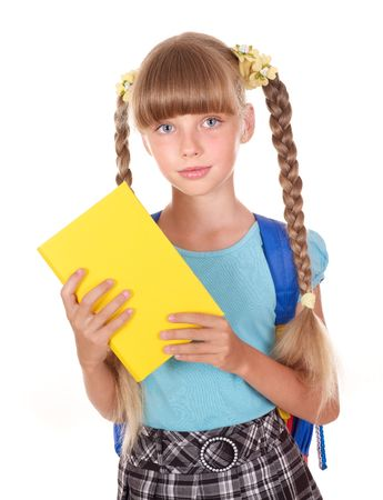 Little girl with backpack holding book. Isolated. photo