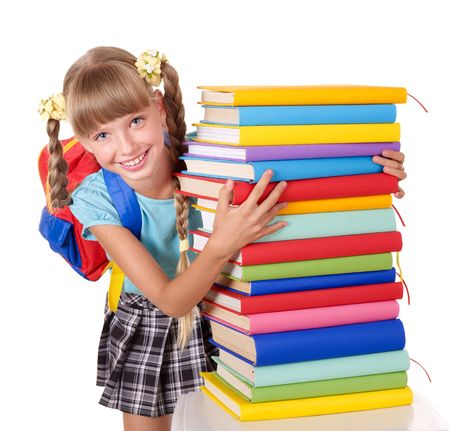 Schoolgirl with backpack holding pile of books. Isolated. Stock Photo - 7450546