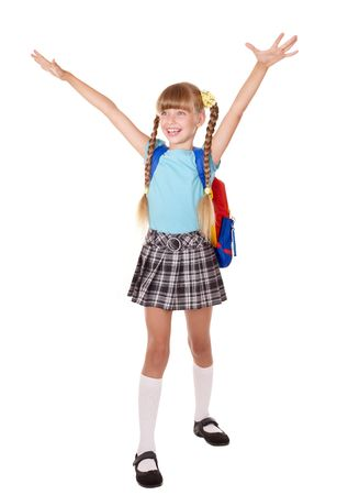 School girl with backpack hand up. Isolated. photo