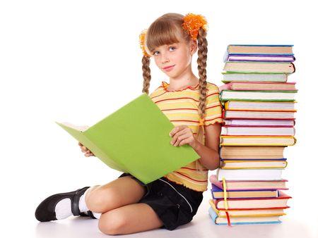 colegiala: Pila de explotaci�n de colegiala de libros. Aislado.
