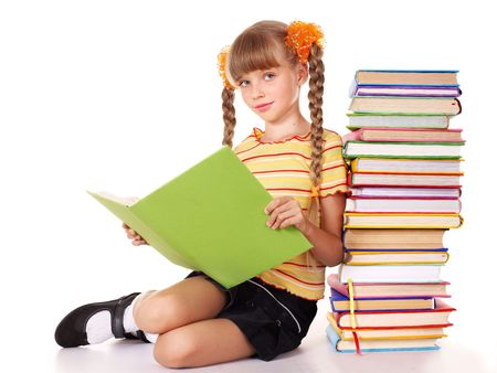 school book: Schoolgirl  holding pile of books. Isolated. Stock Photo
