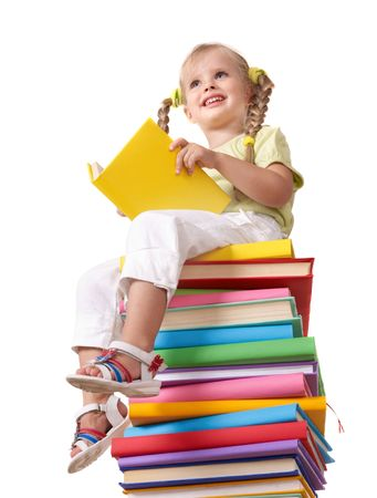 able to learn: Little girl sitting on pile of books. Isolated.