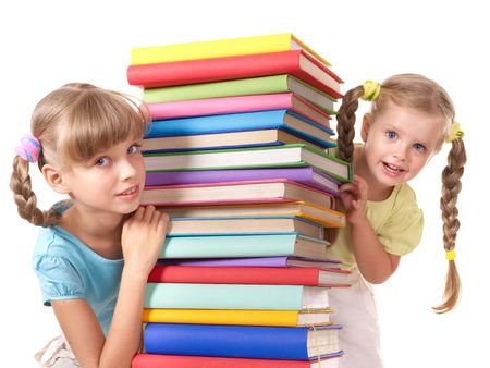 Children reading pile of book. Isolated. photo