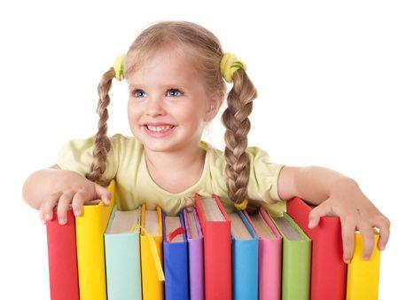 baby nursery: Little girl holding pile of books. Isolated.