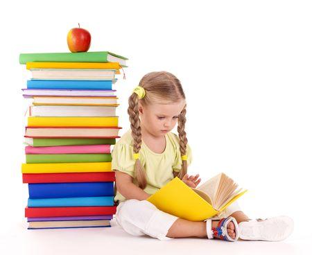 preschool kids: Little girl reading  pile of books. Isolated. Stock Photo