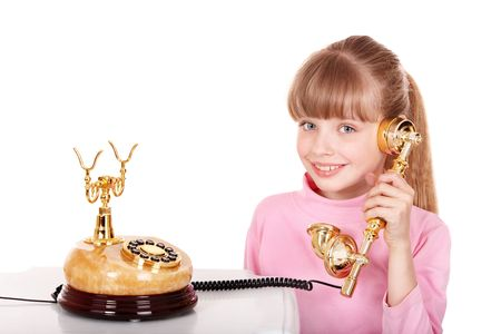 retro telephone: Girl with gold retro telephone. Isolated.