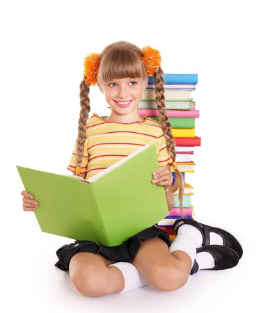 Little girl reading pile of books. Isolated. Stock Photo - 7631283