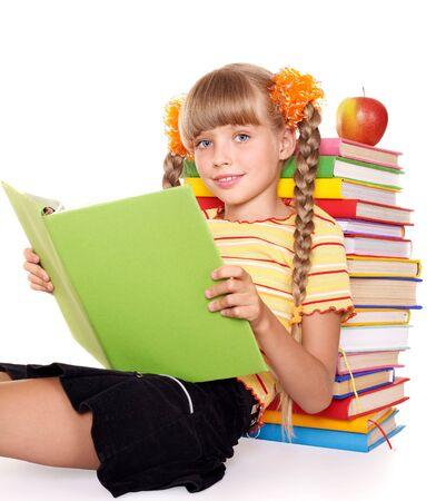schoolchild: Little girl  reading  pile of books. Isolated.