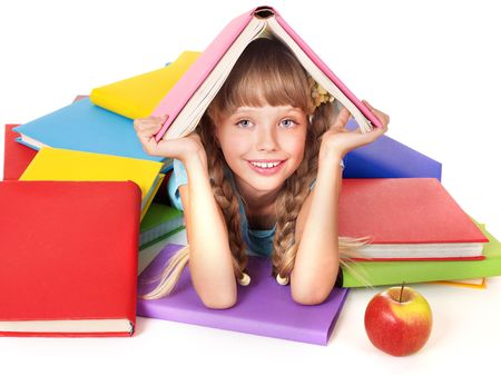 Little girl with pile of books on head. Isolated. Stock Photo - 7631309