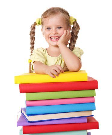 Prodigy: Dziewczynka niewiele gospodarstwa pala książek. Samodzielnie.  Zdjęcie Seryjne