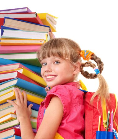 book bag: Child with pile of books. Isolated.