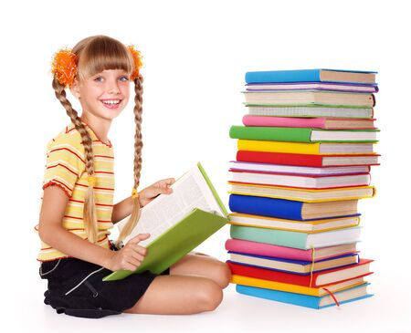 Little girl  reading  pile of books. Isolated. Stock Photo - 7631281