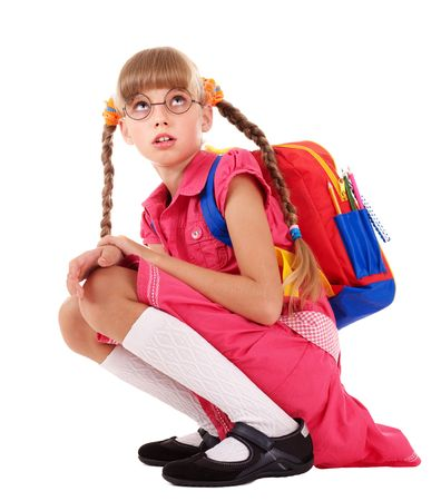 little girl sitting: Scared sitting schoolchild  in eyeglasses. Isolated. Stock Photo