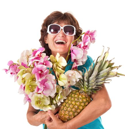 Senior woman holding bunch of flowers. Isolated. photo