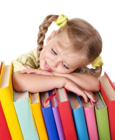 Little girl holding pile of books. Isolated. Stock Photo - 7631313