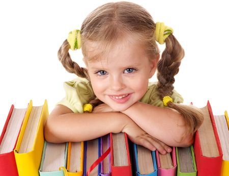 kids reading book: Little girl holding pile of books. Isolated.