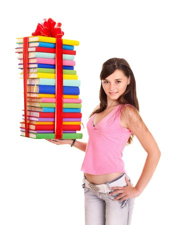 Girl holding pile of  book. Isolated. Stock Photo - 7631372