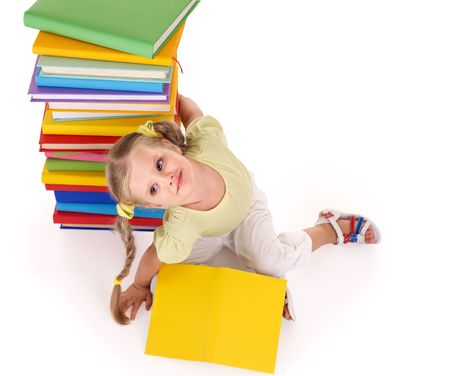 able to learn: Little girl holding pile of books. Isolated.