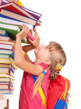 Child with pile of books. Isolated. Stock Photo - 7631375