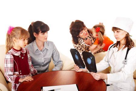 paediatrics: Doctor and happy family. Isolated.