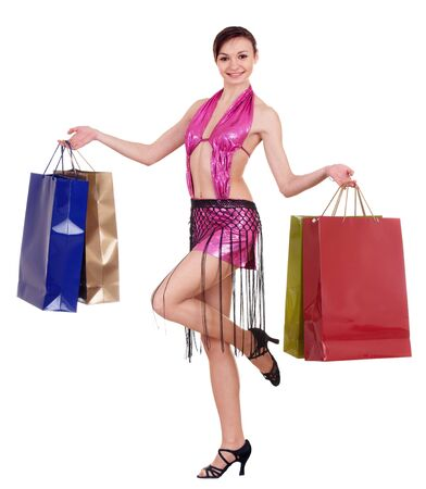Girl with shopping bag. Ball dance. Isolated. photo