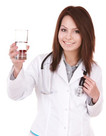 girl drinking water: Medicine doctor with stethoscope. Isolated.