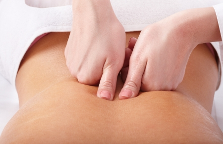 Massage therapy: Massage of female back. Spa resort.