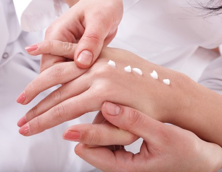Beautician do  massage hand. Manicure. Stock Photo - 7777982