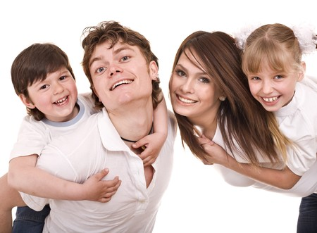 Happy family upbringing children. Isolated Stock Photo - 7777997
